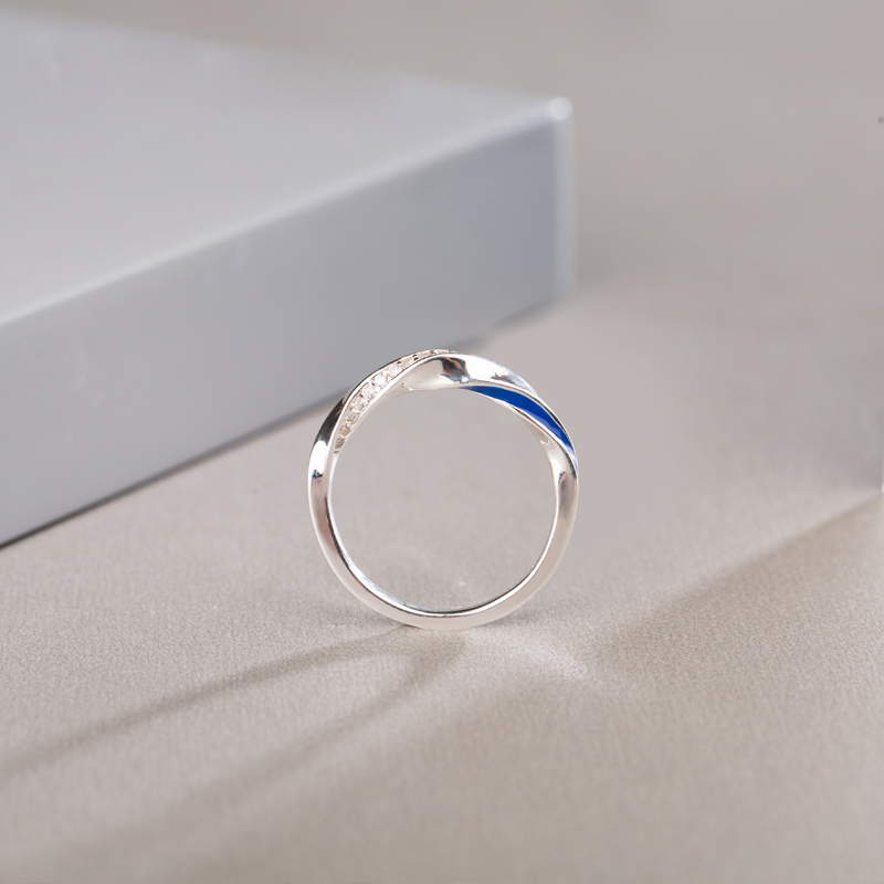 SA SILVERAGE Lovers Ring Couples Ring Sterling Silver Fashion Jewelry Sterling Silver Double Color Red Blue 2019 Zircon Europa