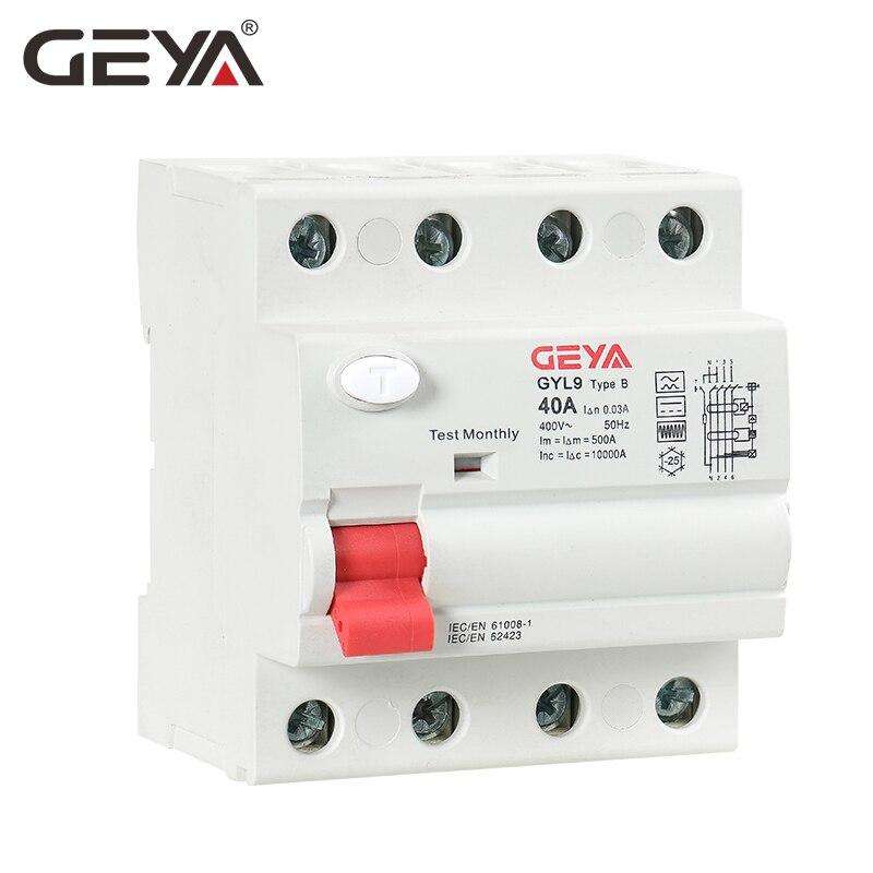Livraison gratuite GEYA Din Rail disjoncteur de courant de fuite de terre DC RCCB RCD 4P 63A 30mA Type B 10KA