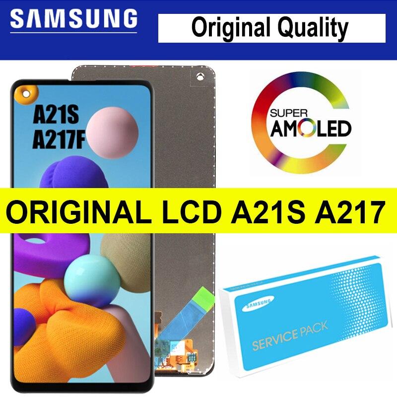 100% oryginalny wyświetlacz z ramką do Samsung Galaxy A21s A217 SM-A217F/DS LCD z ekranem dotykowym Digitizer zgromadzenie części naprawa