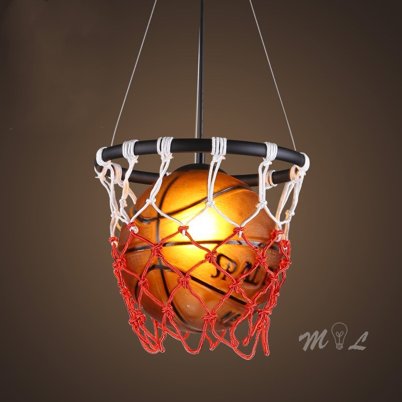 Acrylic Basketball Pendant Lights With Basket Hanging Lamp Home Deco Bar Cafe Shop Suspension Living Room Bedroom Light Fixtures