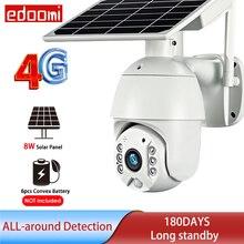 Cámara IP con tarjeta SIM 4G, 1080P, WIFI, 8W, batería de vídeo Solar, seguridad para exteriores, PTZ, CCTV, Monitor inteligente, domo inalámbrica, vigilancia IP66