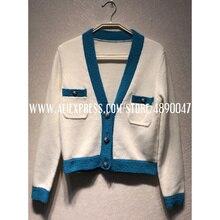 2109 осенне-зимний высококачественный Женский синий свитер с v-образным вырезом, кашемировый шерстяной кардиган