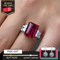 NOT FAKE 14*10mm Emerald Cut NOT FAKE S925 Sterling Silver Ring SONA Diamond citrine sapphire amethyst ruby