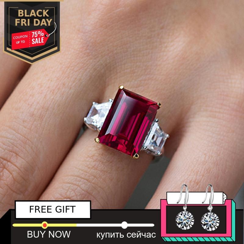 Pas faux 14*10mm taille émeraude pas faux S925 bague en argent Sterling SONA diamant citrine saphir améthyste rubis