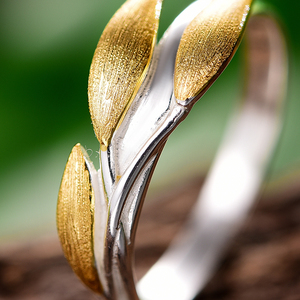 Image 3 - Lotus Fun Real 925 Sterling Silver 18K Gold Rings Handmade Fine Jewelry Creative Minimalist Design Leaves Rings for Women Bijoux