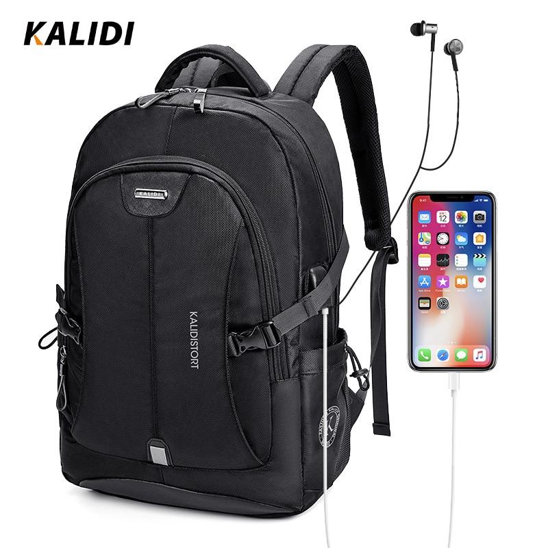KALIDI Waterproof Laptop Bag USB Charging Notebook Bag 15.6 Inch Fashion Computer Bag 17 Inch Travel School Bag For Women Men