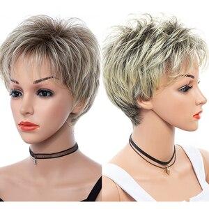 Image 1 - 合成繊維の毛の女性ショートボブストレート高温髪かつら耐熱髪に