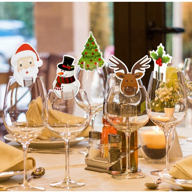 10pcs Santa Claus Snowman Tree Wine Glass Cards 2019 Merry Christmas Decoration For Home Table Ornaments Xmas Gift 2020 New Year 14