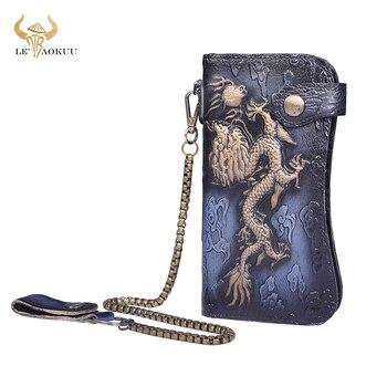 Luxury Famous Brand Male Natural leather Design Dragon Emboss Checkbook Iron Chain Organizer Wallet Purse Clutch Handbag 1088 фото