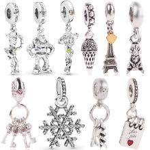 Hot Sale Silver Beads Flower Pixar Toy Story Crystal Pendants Bead For 925 Original Pandora Charm Bracelets & Bangles Jewelry(China)