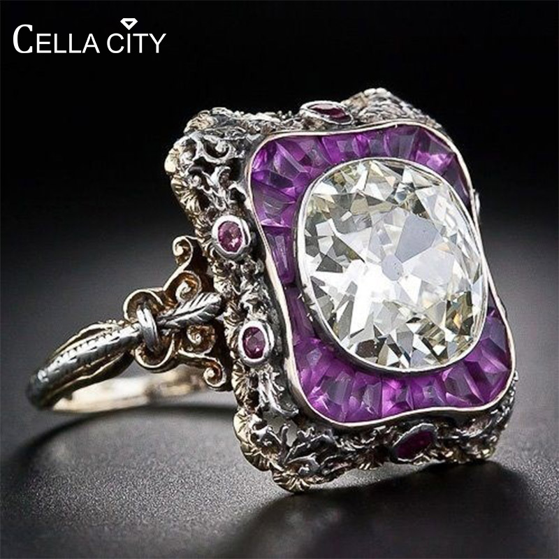 Cellacity Punk style Silver 925 Jewelry Amethyst Ring for Women Large Round Gemstones Hyperbole Geometry Rings Party Female Gift