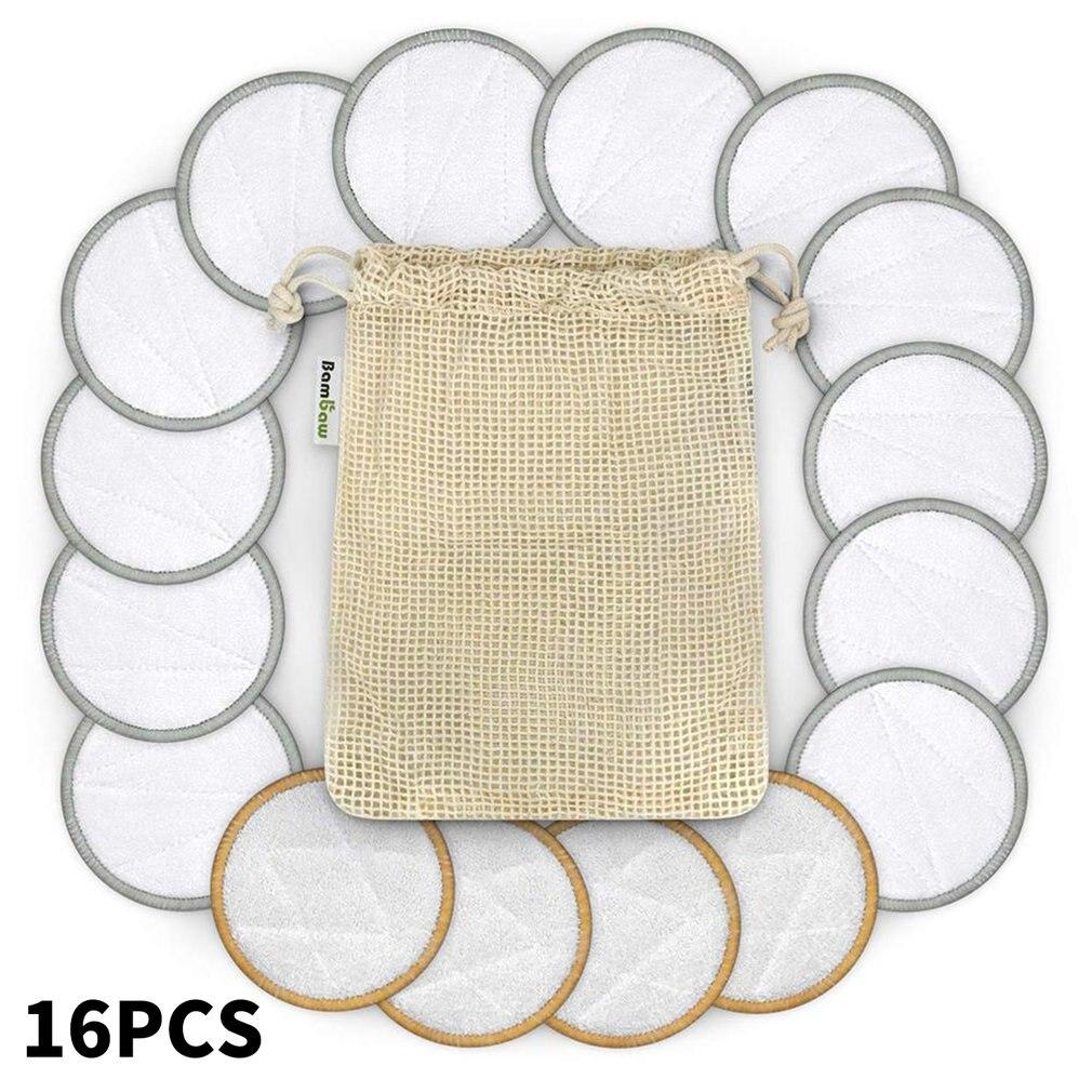 16Pcs Three-Layer Bamboo Fiber Reusable Makeup Remover Remover Wipes Washable Towel Washable Makeup Remover Cotton