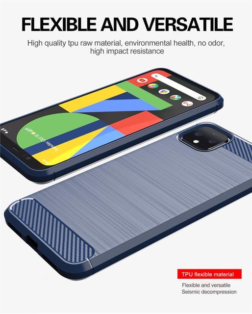 Funda de silicona de fibra de carbono para Google Pixle 2 3 3a 4 XL a prueba de golpes