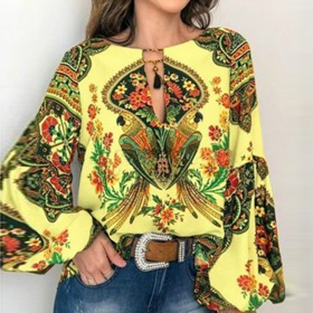 2020 Casual Vintage Shirt Blouse Women Printed Lantern Sleeve Plus Size Womens Tops Loose V Neck Blusas Mujer De Moda
