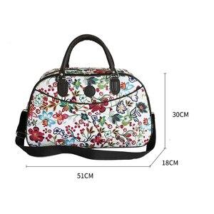 Image 5 - Bolso de viaje de cuero para mujer, bolsa de lona con diseño Floral, portátil, a la moda, impermeable, para fin de semana, XA790WB