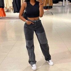 Dewadbow moda retalhos magros jeans retos das mulheres 2021 cintura alta bolso cor sexy bloco de rua longa cinza calças jeans