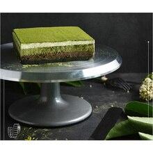 Alaşımlı kek döner tabla döner Anti skid gümüş Metal kek yapma Diy kek standı platformu mutfak dekorasyon