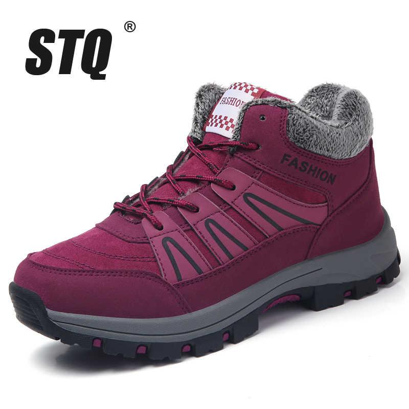 STQ kış kadın kar botları ayakkabı kama bağcıklı ayakkabı platformu sıcak tutmak yarım çizmeler rahat patik sıcak kış ayakkabı 8081