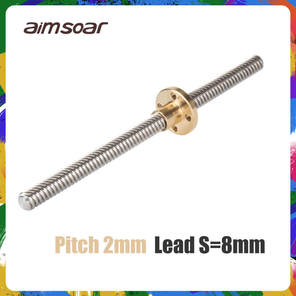 t8 lead screw 250mm 300mm 330mm 350mm 400mm 3d printer parts od 8mm pitch 2mm stainless steel with brass nut