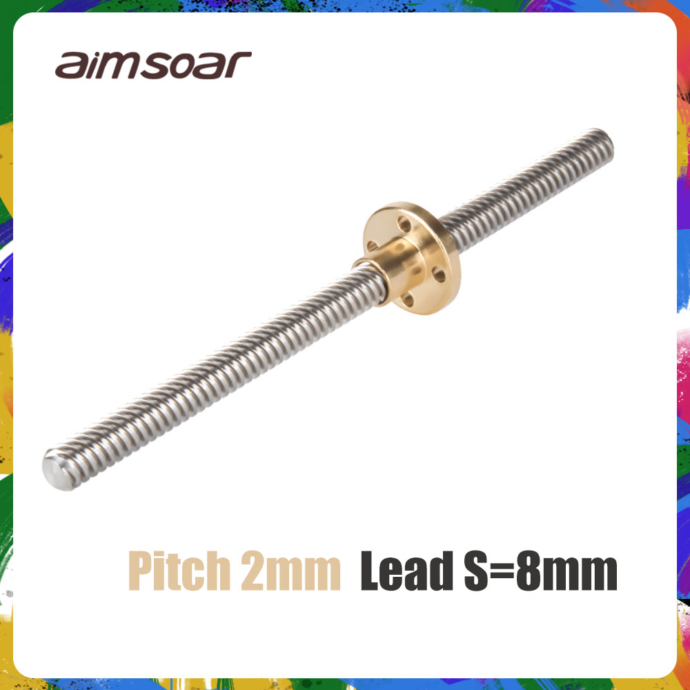 <font><b>t8</b></font> lead screw 250mm 300mm 330mm 350mm <font><b>400mm</b></font> 3d printer parts od 8mm pitch 2mm stainless steel with brass nut image