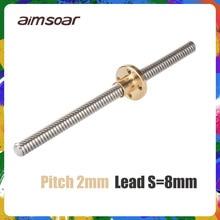 Vis à plomb t8 pièces dimprimante 3d, filetage 250mm 300mm 330mm 350mm 400mm, 8mm, 2mm en acier inoxydable avec écrou en laiton