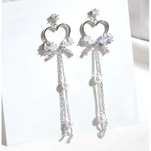 MENGJIQIAO coreano nuevo brillante de cristal hueco Corazón y lazo largo Pendientes para Mujer de Moda Bijoux de diamantes de imitación de perlas Pendientes Brincos