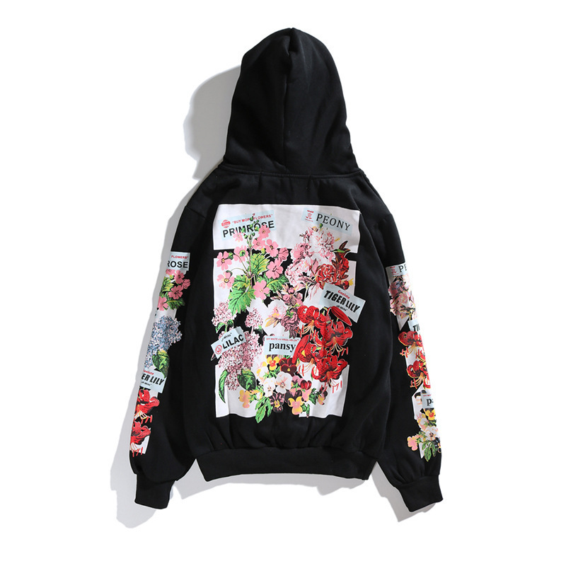 Off OWF White 18 Autumn Ow Flower Hoodie Hoodie Pullover Men And Women Couples Street Fashion Cherry Blossom Loose-Fit