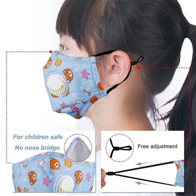 Tcare Reusable Kids Children Mask with 2 Filters Mouth Mask Haze Dust Pm 2.5 Face Mask Breathable Valves Kids Mask 2