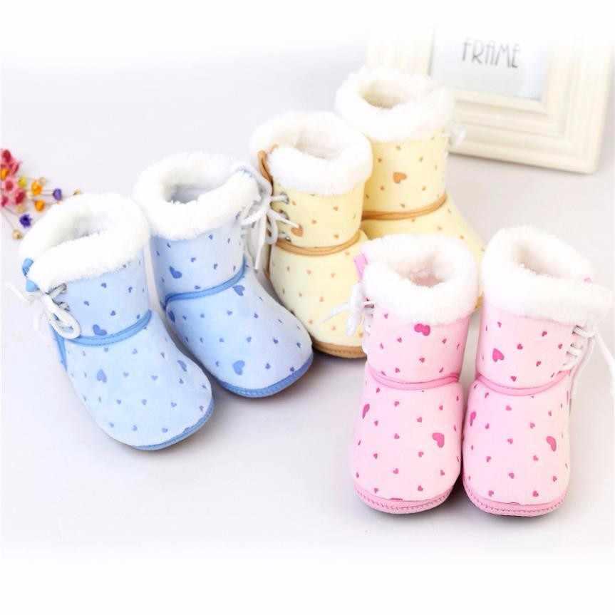 Peuter Zachte bodem Schoenen Baby Pasgeboren Baby Print Laarzen Zachte Tong Leisure Laarzen Prewalker Warme snowboots 2019 Hot Koop