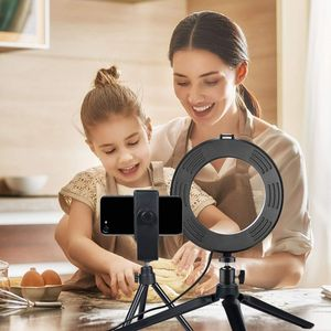 Image 5 - Selfie Makeup Live Vlog Streaming YouTube Fill Ring Light Photography Ringlight Lamp LED Dimmable Tripod Stand Phone Holder