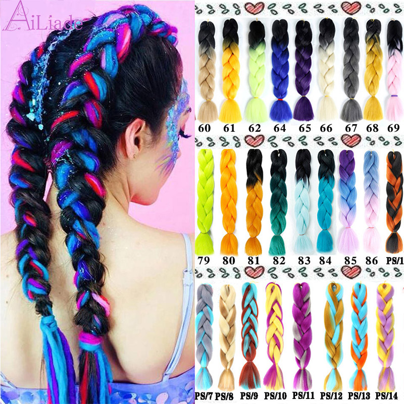 AILIADE 24inch Jumbo Braiding Hair Synthetic Crochet Hair Extensions Green Grey Blue Ombre Colors For Crochet Braids Hair