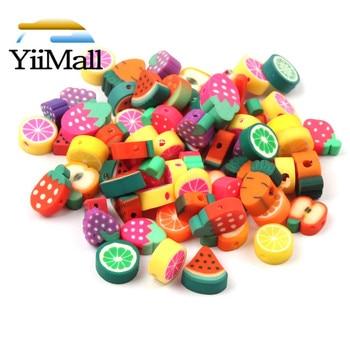 Cuentas espaciadoras de fruta mezcladas DIY, 50 Uds., 10mm, cuentas de arcilla polimérica para fabricación de joyas, pulsera hecha a mano bisutería, accesorios