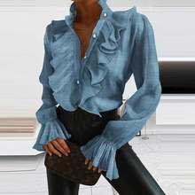Novo sólido plissado camisas escritório t camisa senhora 2020 verão manga longa magro t-shirts moda feminina sexy v-neck topos