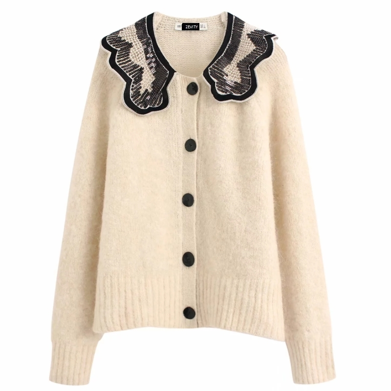 2020 Women High Street Sequins Embroidery Knitting Sweater Female Long Sleeve Button Casual Slim Cardigan Chic Leisure Tops S247