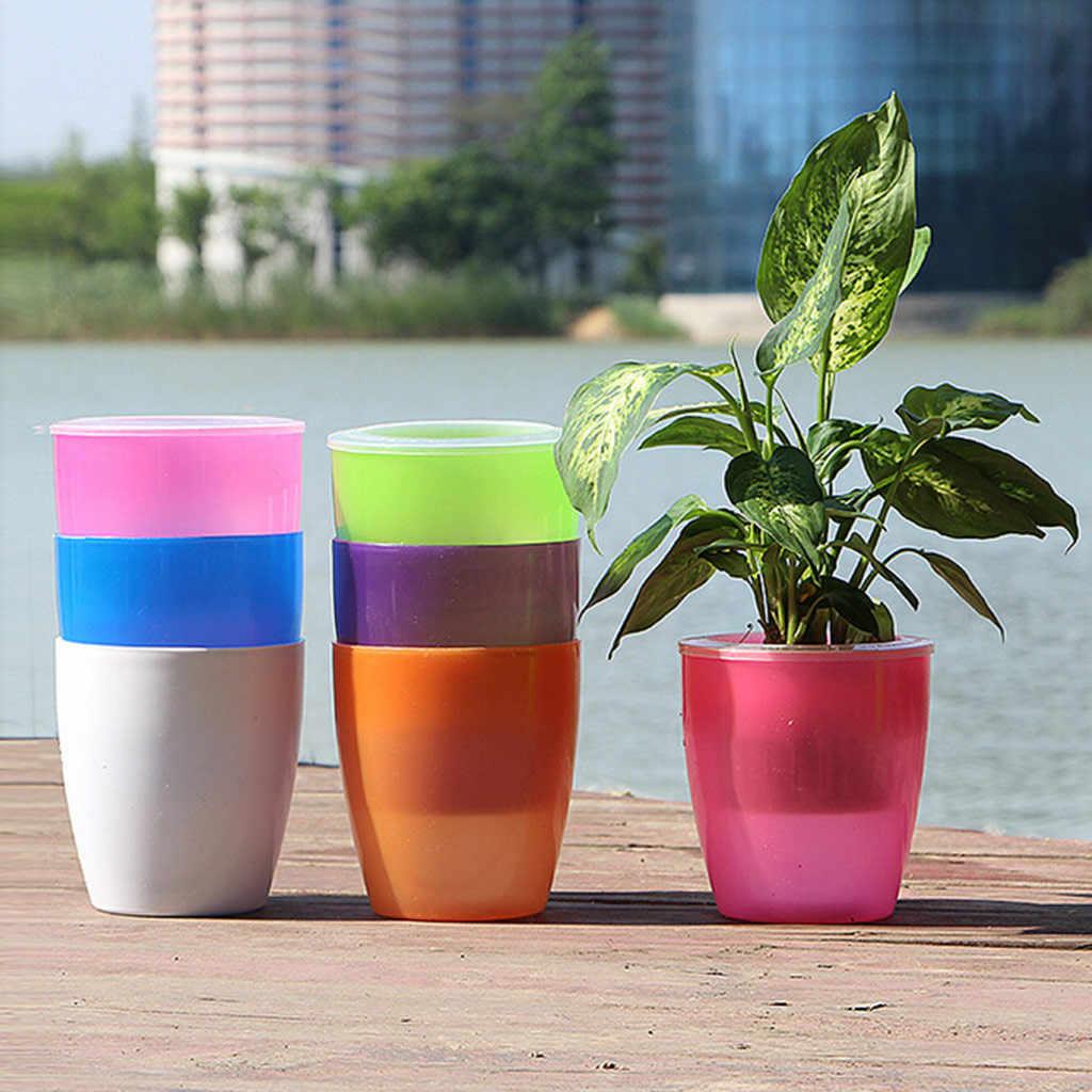 كسول زهرة وعاء التلقائي المياه امتصاص البلاستيك وعاء النبات الأخضر المياه الثقافة الإبداعية حديقة أصيص بونساي حامل ديكور المنزل