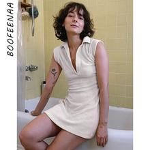 BOOFEENAA Cozy Knitted Short Sleeve V Neck Mini Dresses for Women Summer 2020 Vestido De Mujer Casual T Shirt Dress C66-BH22