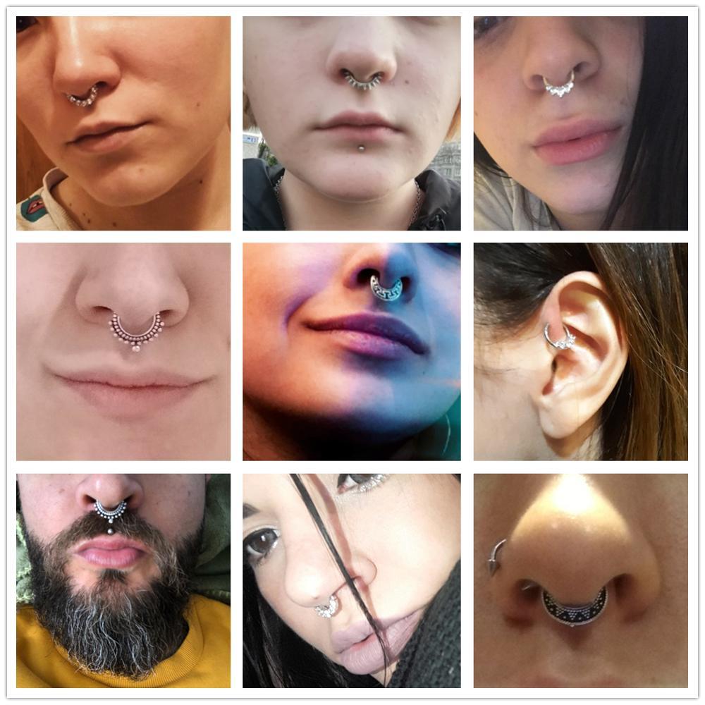 1pcs 16G Surgical Steel Indian Nose Septum Rings Women Crystal Ear Helix Clicker Piercings Earring Septums Hoop Piercing Jewelry