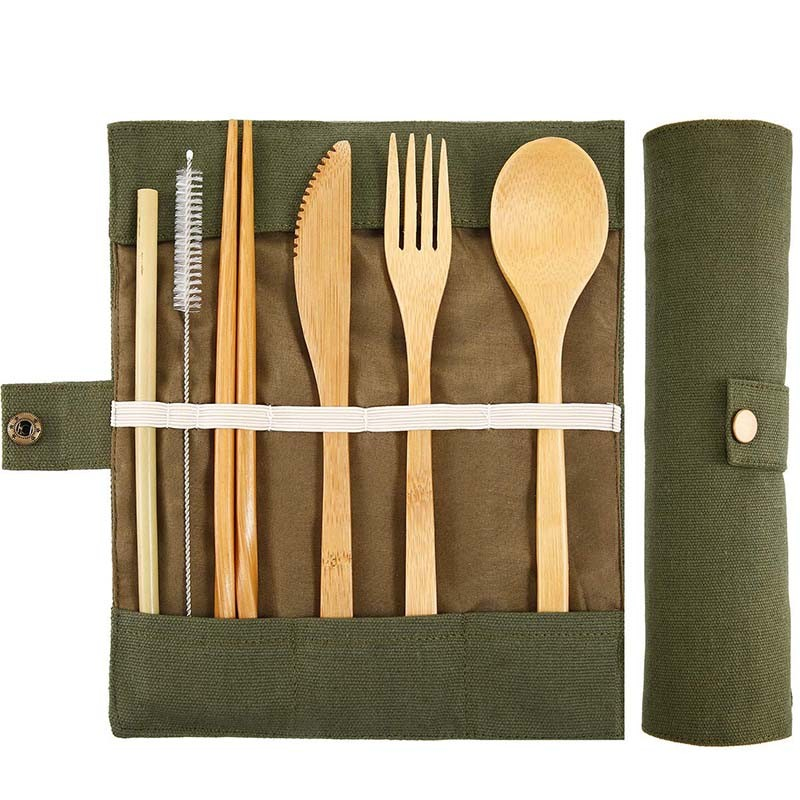 Wooden Flatware Cutlery Set Bamboo Straw Dinnerware Set With Cloth Bag Knives Fork Spoon Dishes Chopsticks Travel Tool Wholesale