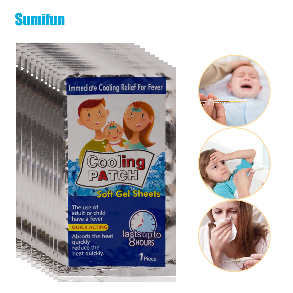 20bags Cooling Patches Baby Fever Down Medical Plaster Lower Temperature Ice Gel Polymer Hydrogel Migraine Headache Pad D1987