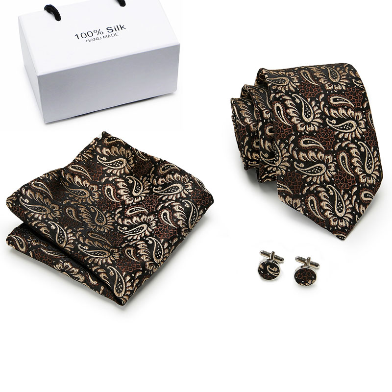 Luxury Silk Brown Paisley Floral Ties for Men Tie Set Ties and Handkerchiefs Fashion Designer Business Wedding Mens Ties in Men 39 s Ties amp Handkerchiefs from Apparel Accessories