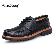 Boat-Shoes Lace-Up Brown Casual Genuine-Leather Men High-Quality Cuero Man Black Autumn