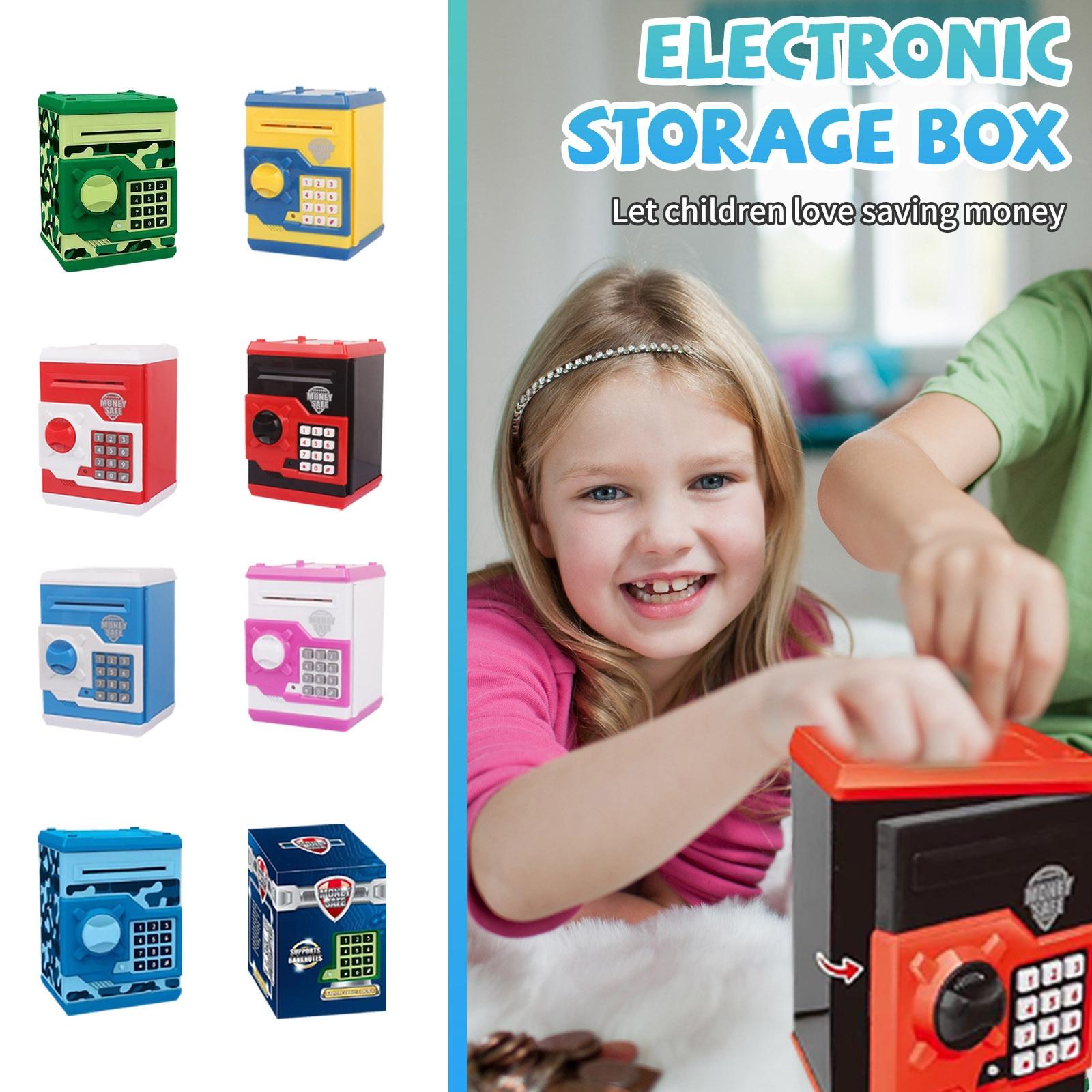 Alcancía electrónica para niños, caja de ahorro de dinero con huella Digital, contraseña, ATM, caja fuerte de banco, juguete para regalo # M, 1 ud.