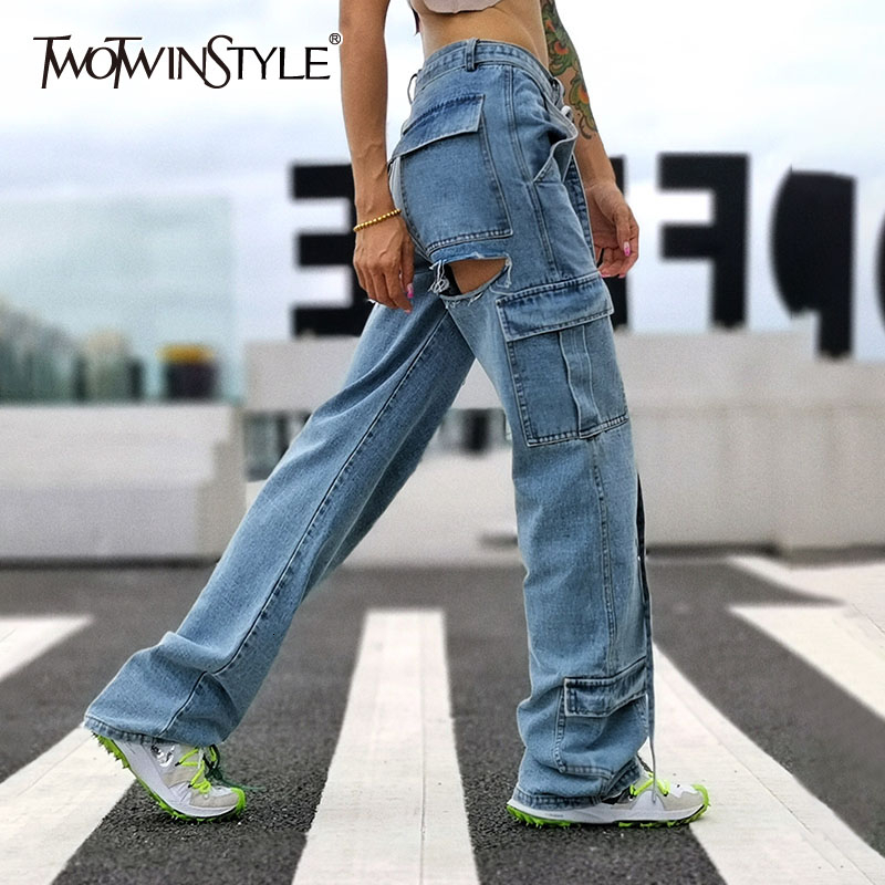 TWOTWINSTYLE Hollow Out Denim Women's Pants High Waist With Sashes Patchwork Tassel Pocket Female Jeans Fashion Autumn New 2019