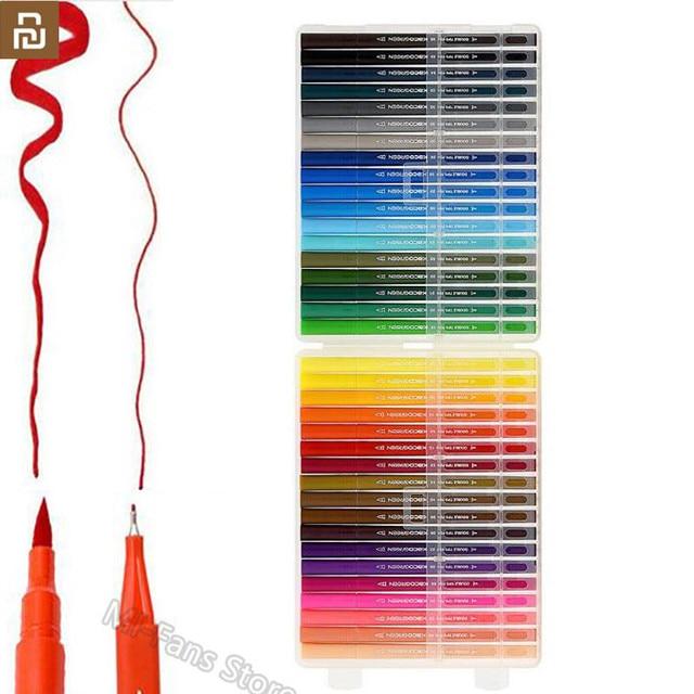 Youpin KACO 36 renkler çift İpucu suluboya kalemler boyama Graffiti sanat Markers çizim seti sanat çift fırça kalem toksik olmayan güvenli #