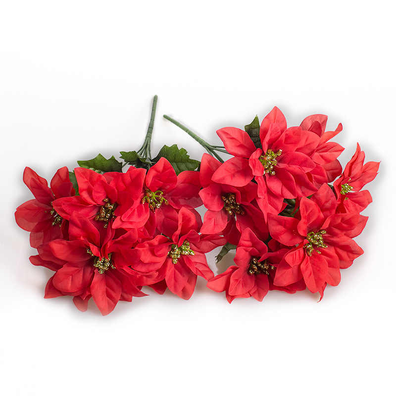 Dengan Harga Murah 1 Pcs Sutra Natal Bunga Buket Pengantin Pernikahan Natal Dekorasi Rumah Vas Hias Pot Bunga Buatan Bunga S