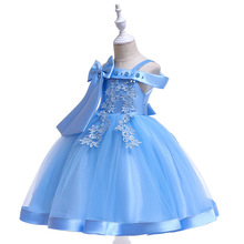 Baby Girl Flower Princess Dress for Wedding Party Big Bow Ball Gown Kids Dresses for Girl Shoulderless Children Fashion Clothing цена