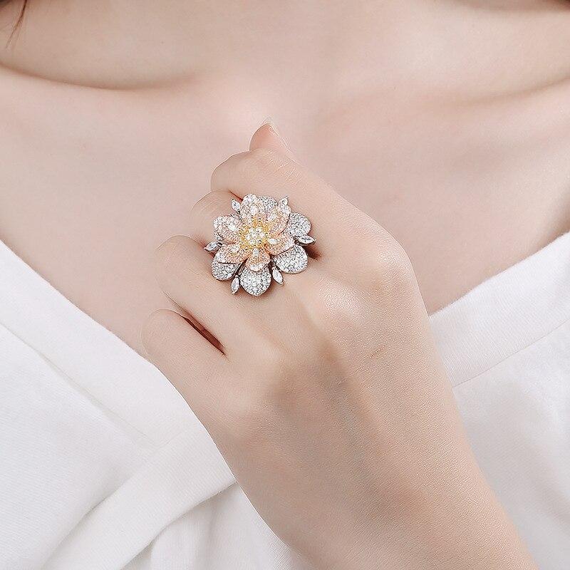 BALMORA réel 925 pur argent anneaux pour femmes fille exagéré cristal fleur bague bijoux Anillos cadeaux de noël pour elle - 2