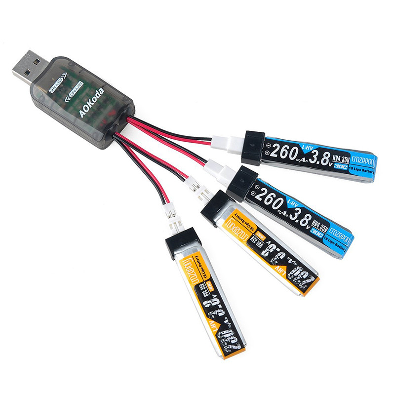 4 In 1 AOKoda CX405 4CH PH2.0 Multi Micro USB Lipo Battery Charger For 1S Gaoneng Lipo LiHV Battery For RC Charging FPV Drone