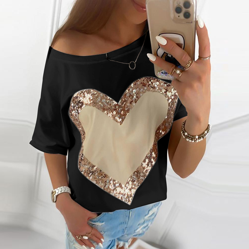 Sequined Heart Printed Casual Black White Shirt O-Neck Elegant Tees Office Lady 2020 Summer Women T-Shirts Short Sleeve 1765