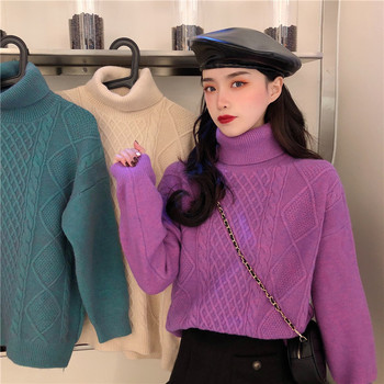 Ailegogo New Women Spring Turtleneck Pullovers Casual Female Knitted Loose Fit Sweater Retro Solid Color Ladies Knitwear Tops 3
